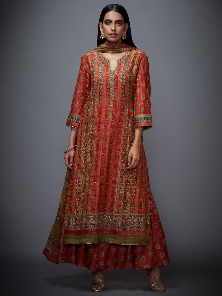 Rust & Olive Embroidered Suit Set