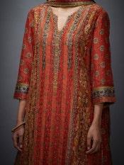 Rust & Olive Prithvi Embroidered Suit Set