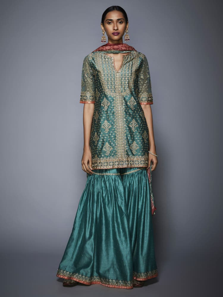 Teal & Beige Embroidered Ensemble