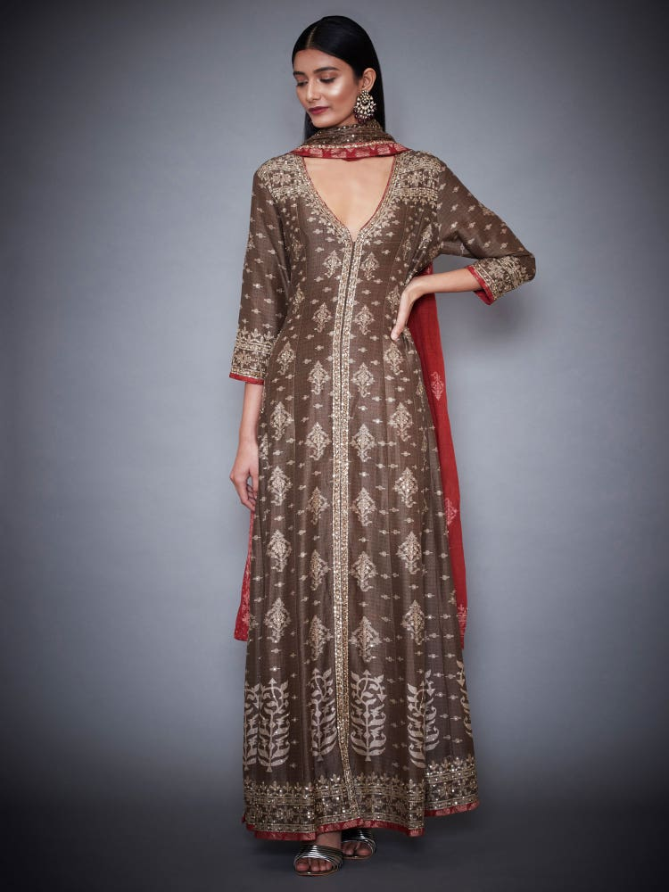 Brown & Burgundy Anjali Jamdani Suit Set