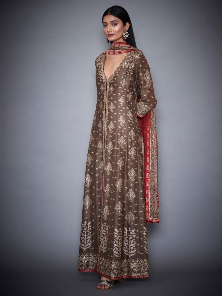 Brown & Burgundy Jamdani Suit Set