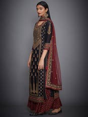 Kangana Ranaut In A Black & Burgundy Suryavanshi Embroidered Suit Set