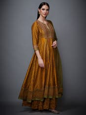 Mustard & Olive Green Embroidered Suit Set