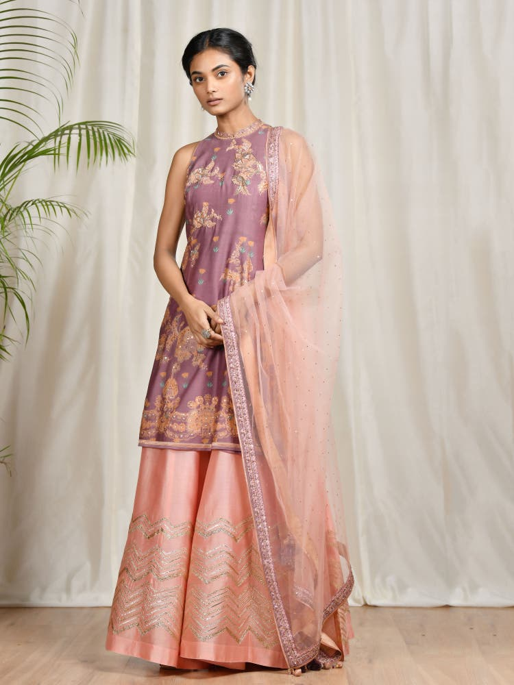 Mauve & Pink Floral Suit Set