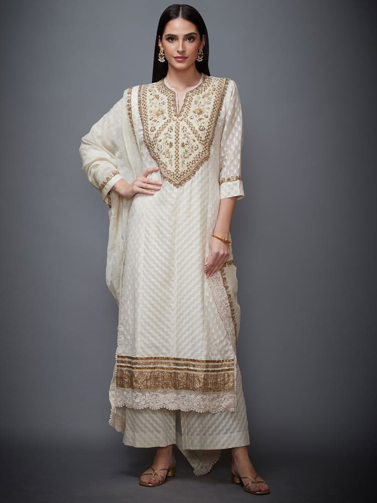 Off White & Gold Embroidered Suit Set