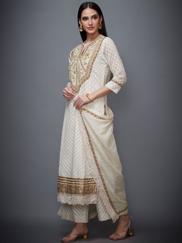 Off White & Golden Gold Palace Embroidered Suit Set
