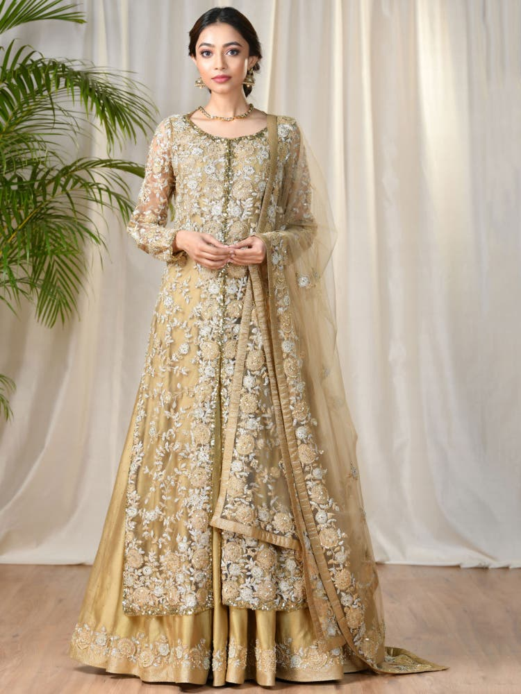 Beige & Khaki Embroidered Ensemble