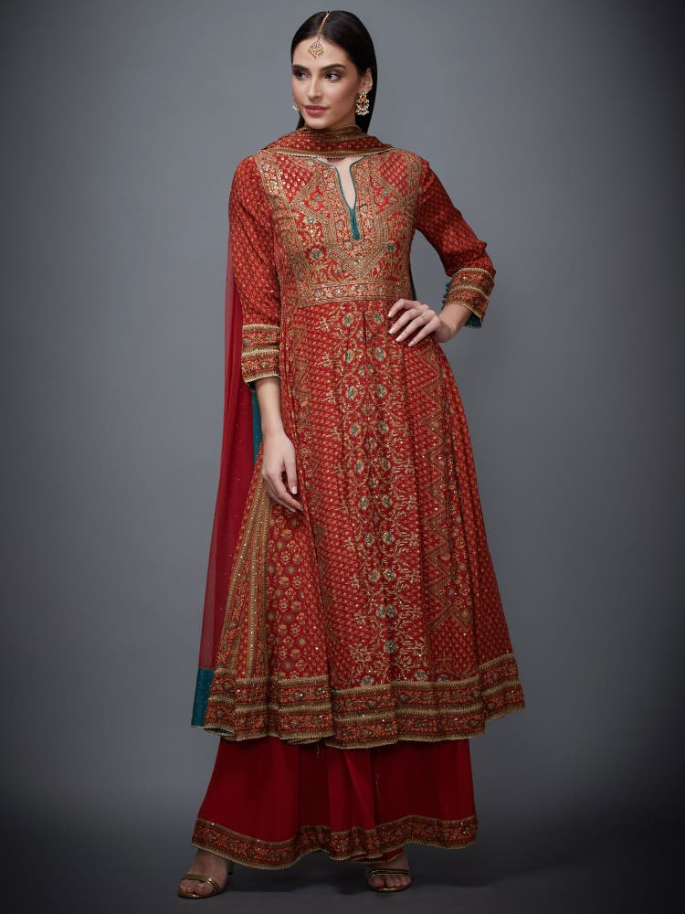 Rust & Beige Ari Embroidered Suit Set