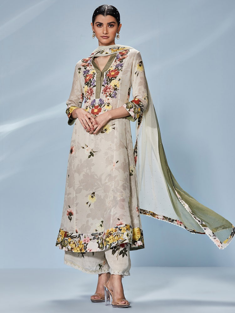 Off White Halima Embroidered Suit Set