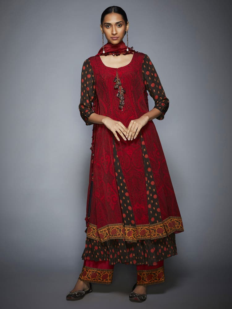 Brown & Brick Red Thread Embroidered Suit