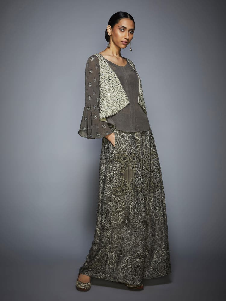 Grey Embroidered Ensemble