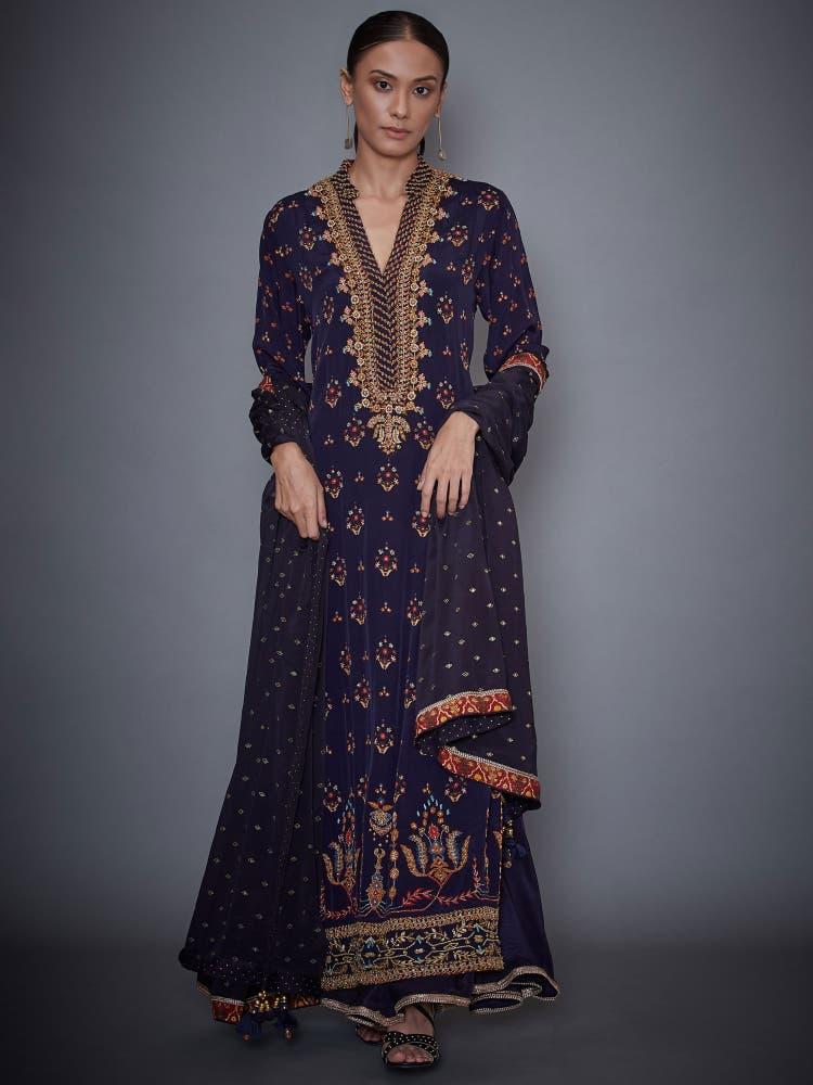 Navy Blue Persian Print Suit Set