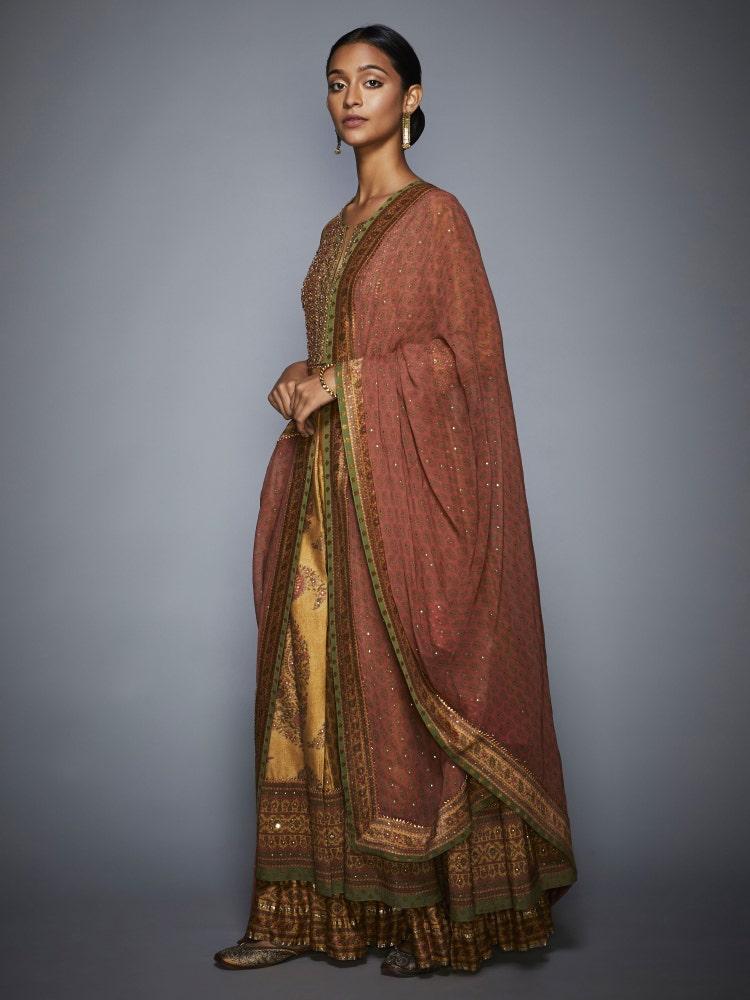 Camel Gold & Olive Green Kalash Gota Embroidered Suit Set