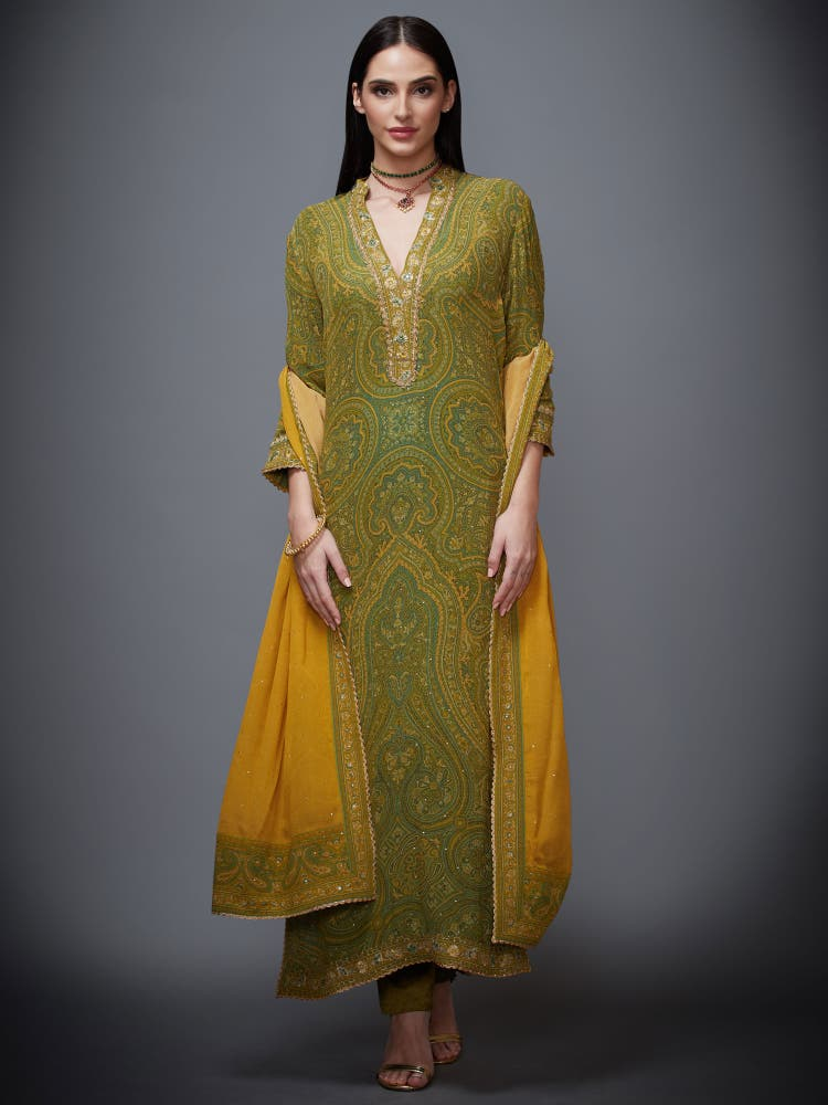 Olive Green & Mustard Paisley Suit Set