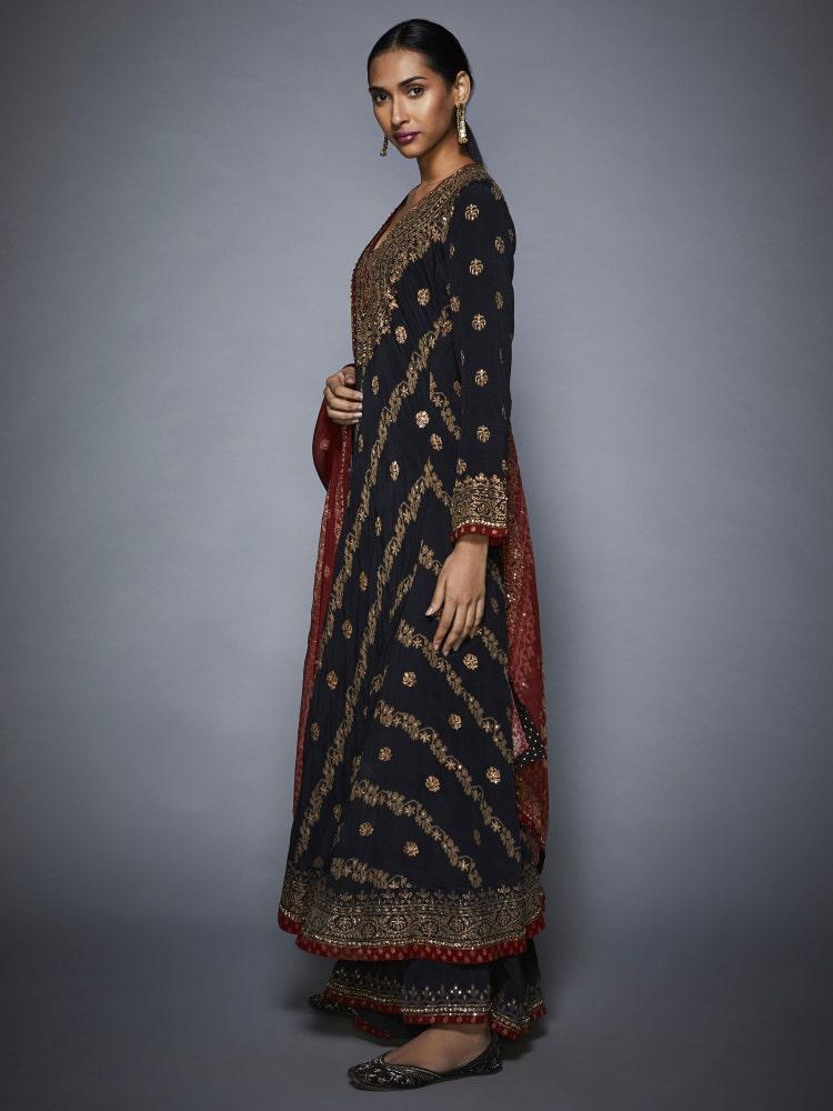 Black & Burgundy Pushpanjali Embroidered Anarkali Suit