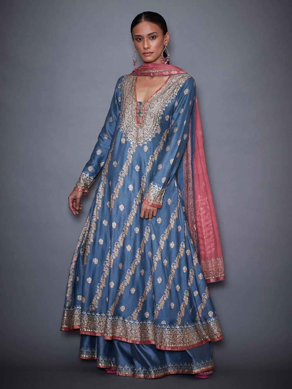 Blue & Pink Jamdani Anarkali Suit Set