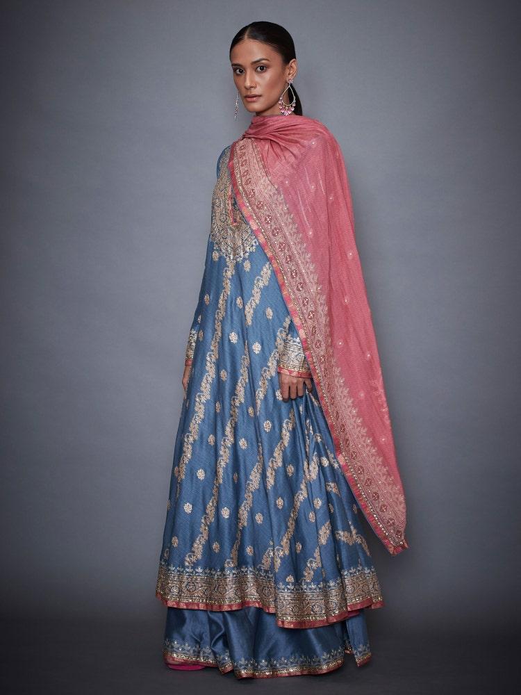 Blue & Pink Pushpanjali Jamdani Anarkali Suit Set