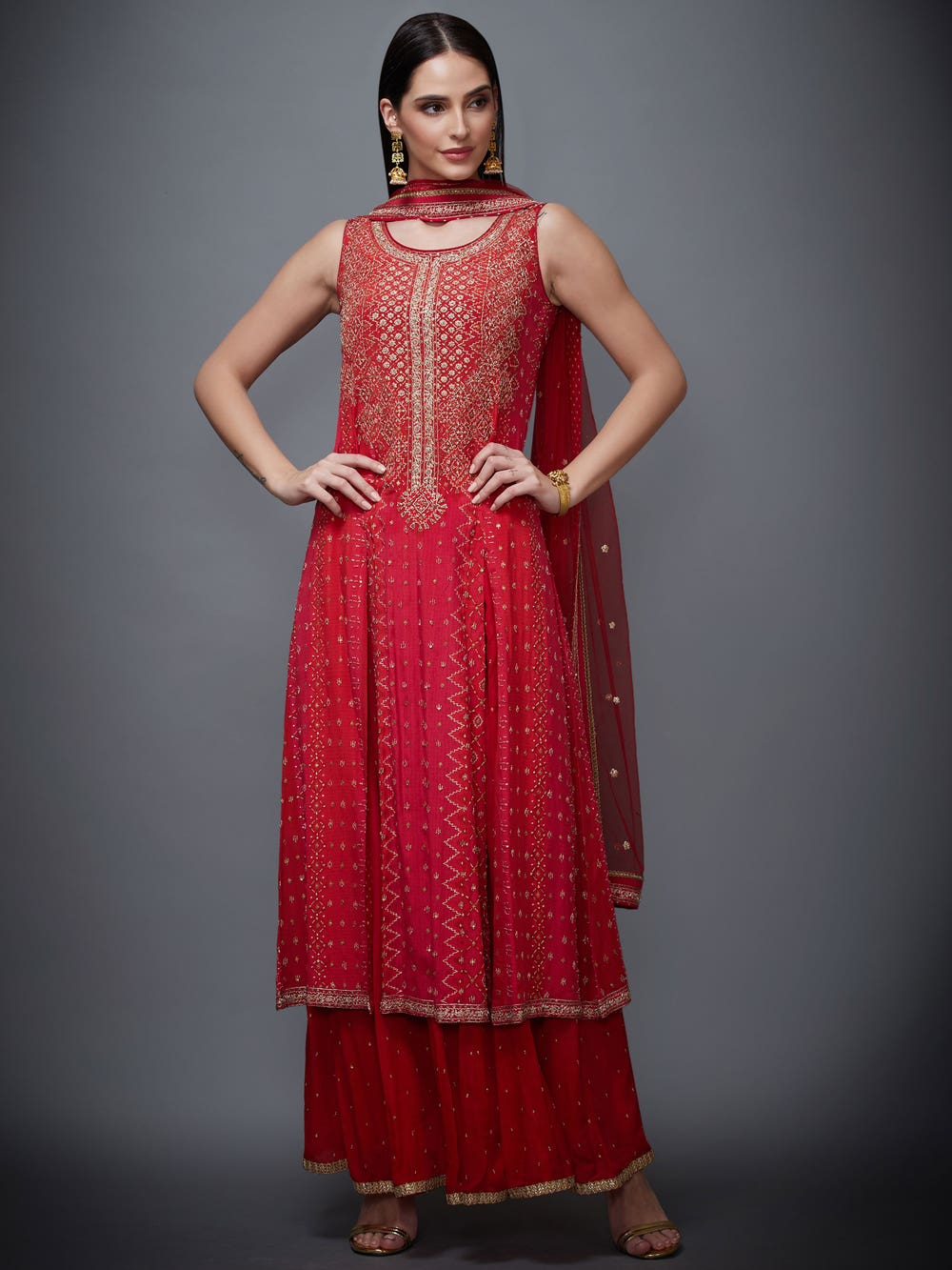 Red Puneeta Hand Embroidered Suit Set