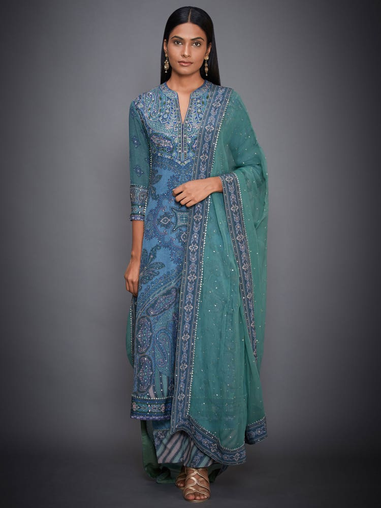 Blue & Sea Green Vasu Abstract Print Suit Set