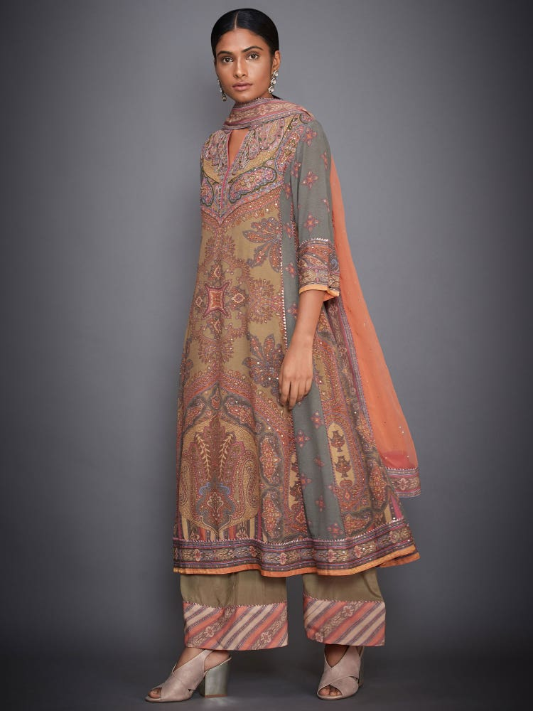 Peach Vasu Abstract Print Suit Set