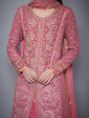 Pink & Gold Embroidered Suit Set