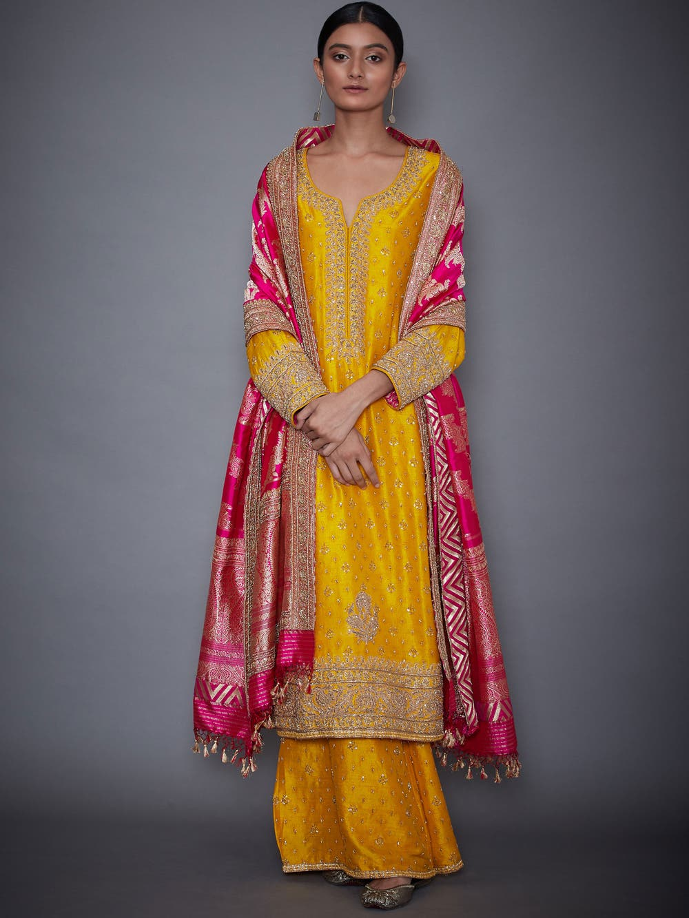 Yellow & Fuchsia Kiran Embroidered Suit Set