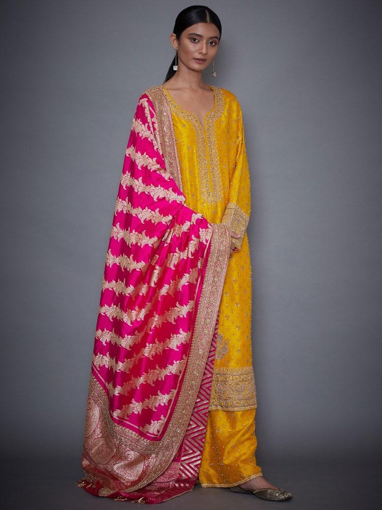 Yellow & Fuchsia Kiran Embroidered Suit Set