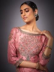 Rose Pink Uttama Zardozi Hand Embroidered Suit Set