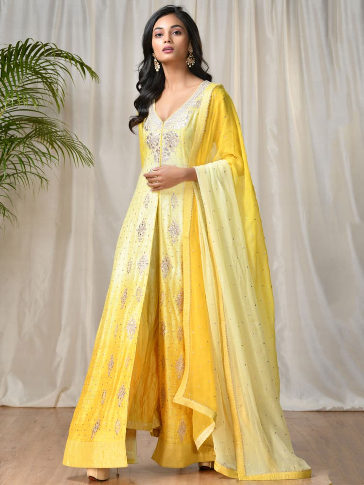 Yellow Embroidered Ombre Suit Set