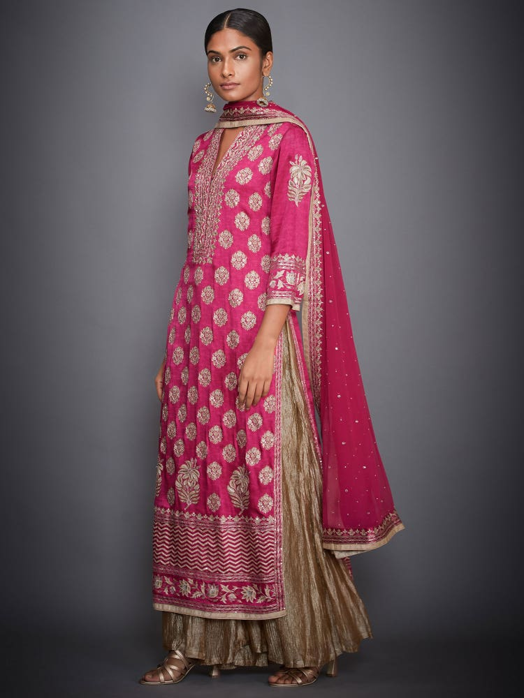 Fuchsia & Gold Agora Jasmine Ari Embroidered Suit Set