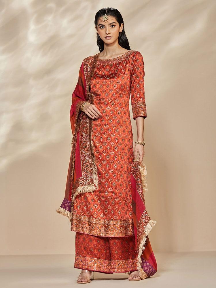 Rust & Orange Anantnag Aari Hand Embroidered Suit Set