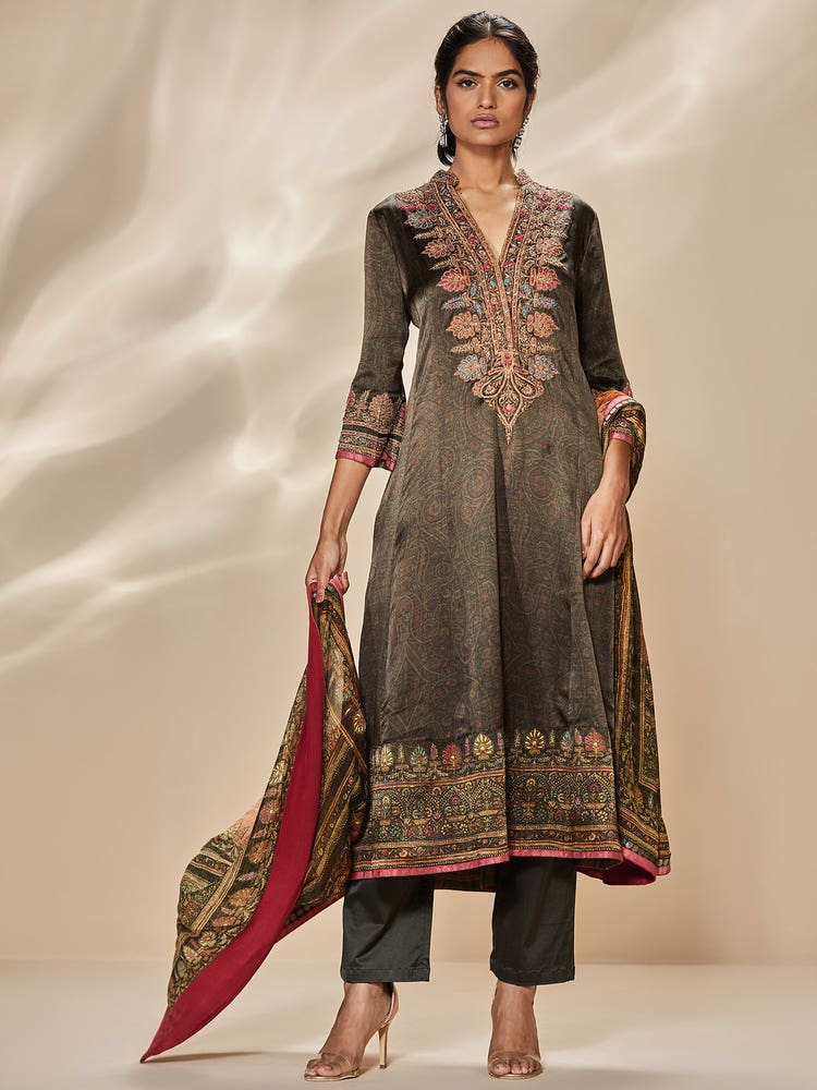 Dark Olive Green & Multi Colored Hiya Embroidered Suit Set