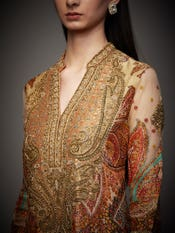 Burnt Orange & Multi Colored Niscira Zardozi Hand Embroidered Suit Set