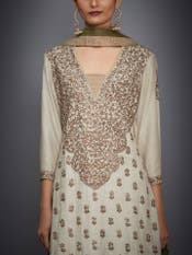 Beige & Khaki Green Embroidered Suit Set