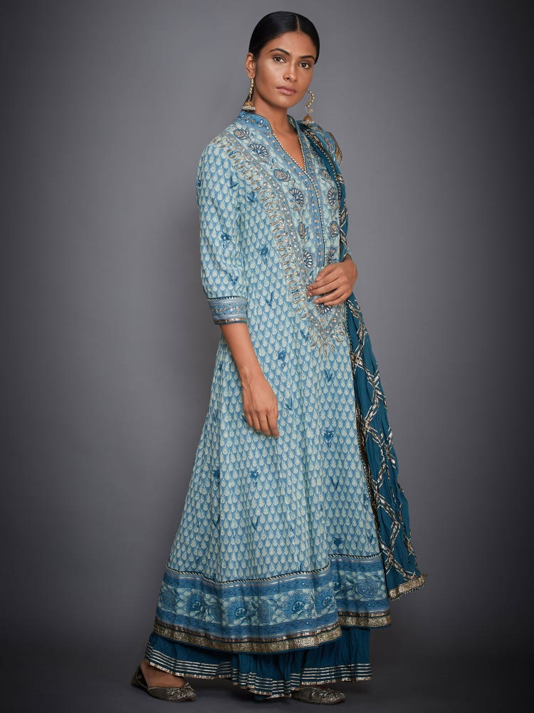 Turquoise & Off White Inaya Floral Suit Set