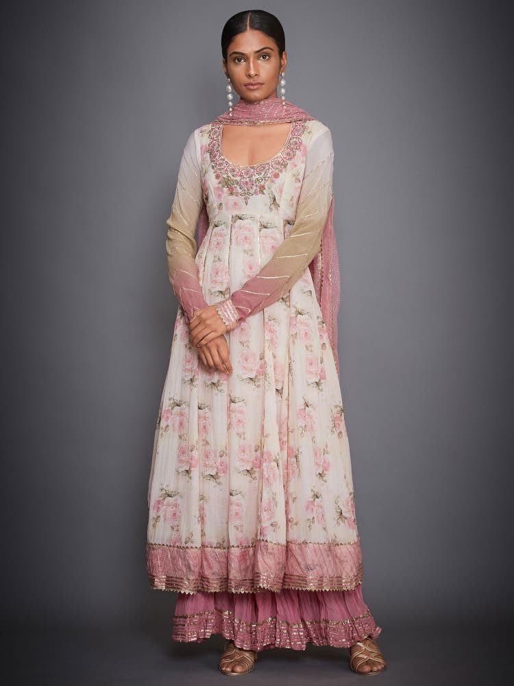 Off White & Pink Floral Anarkali Suit Set