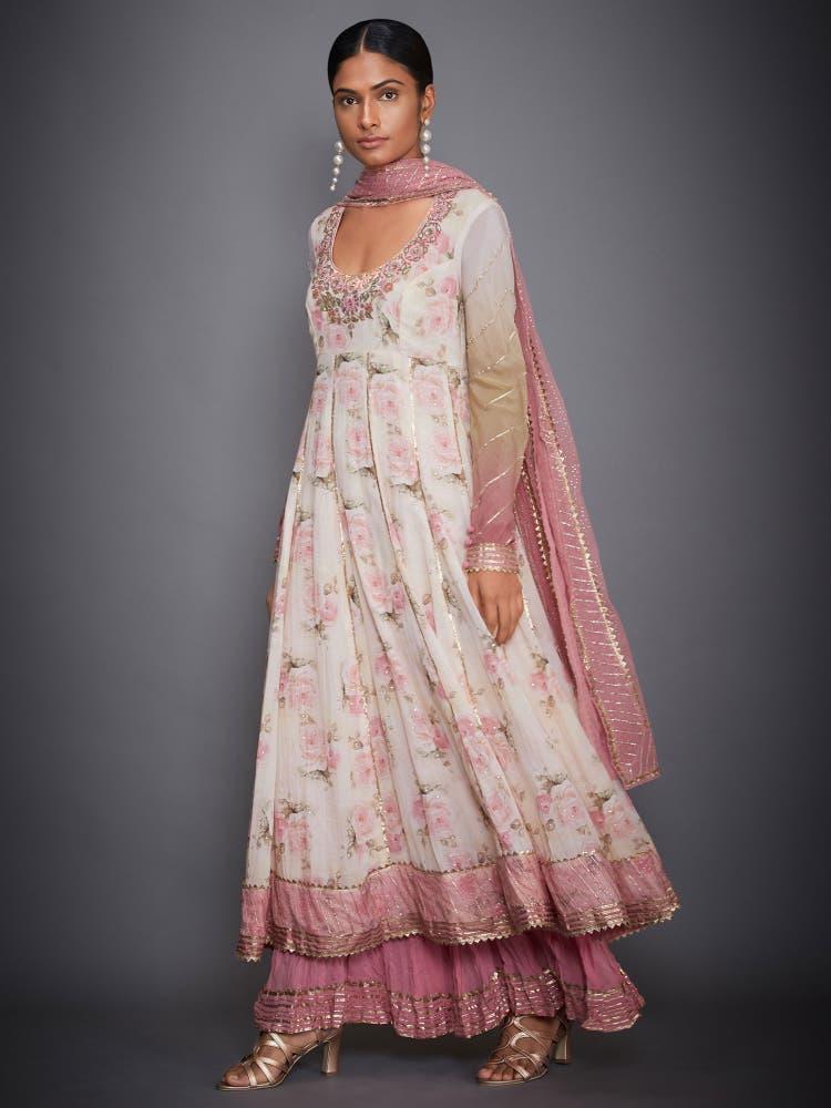 Off White & Pink Floral Anarkali Suit Set