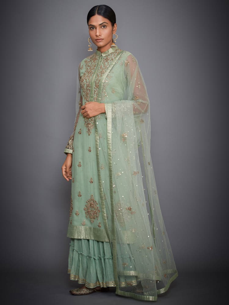 Mint Green Embroidered Kurta With Dupatta And Palazzo