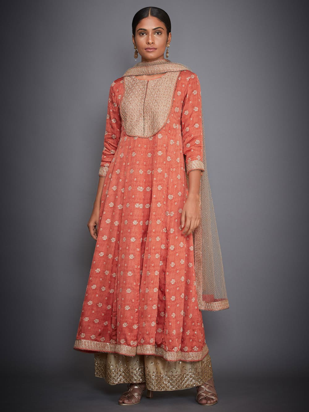Coral & Beige Embroidered Anarkali Suit Set