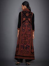 Black & Burgundy Embroidered Ensemble