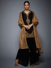 Black & Gold Embroidered Velvet Suit Set