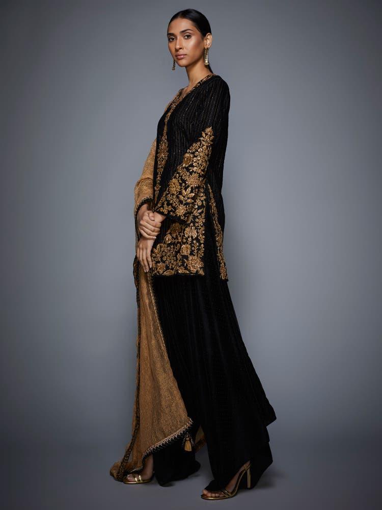 Black & Gold Embroidered Velvet Suit Set