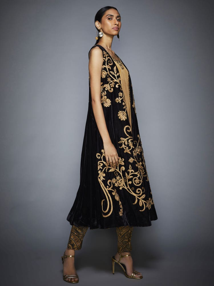 Black & Gold Flying Carpet Embroidered Ensemble