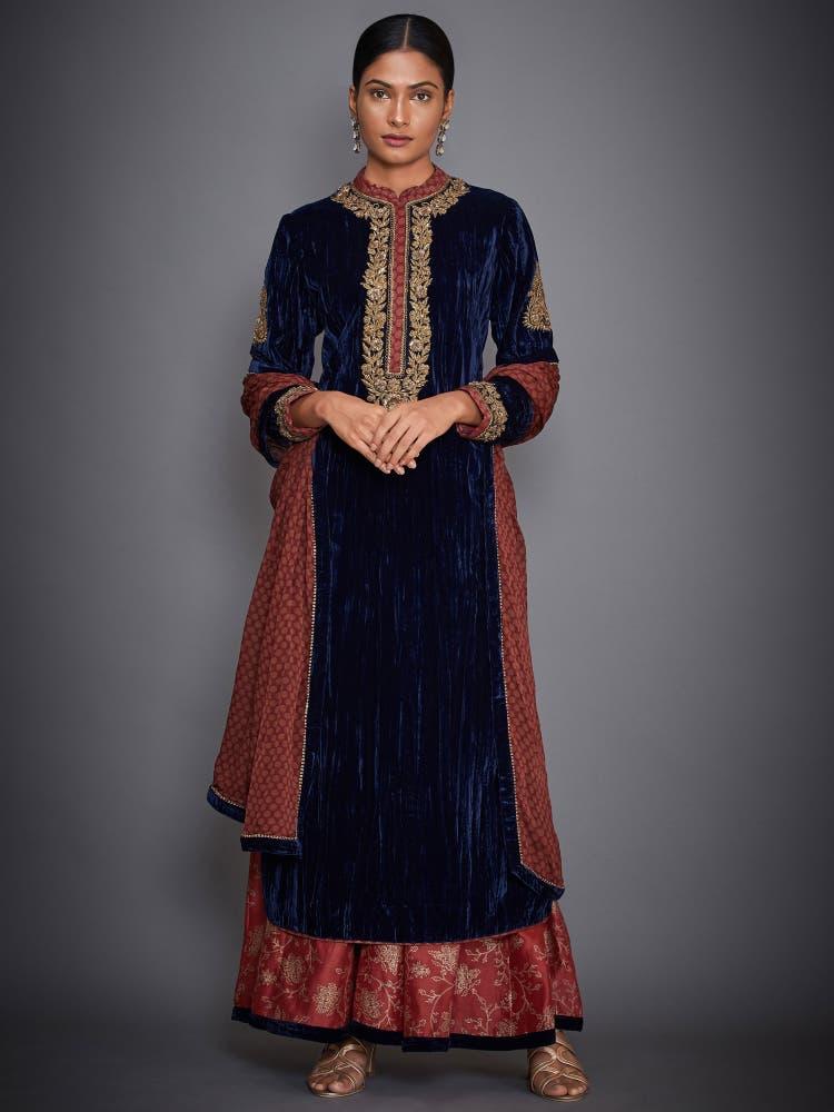 Black & Burgundy Embroidered Velvet Suit Set