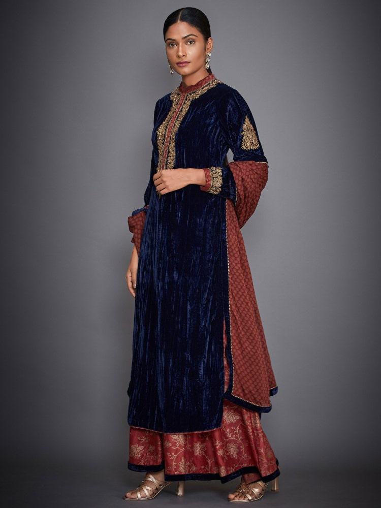 Black & Burgundy Baroque Embroidered Velvet Suit Set