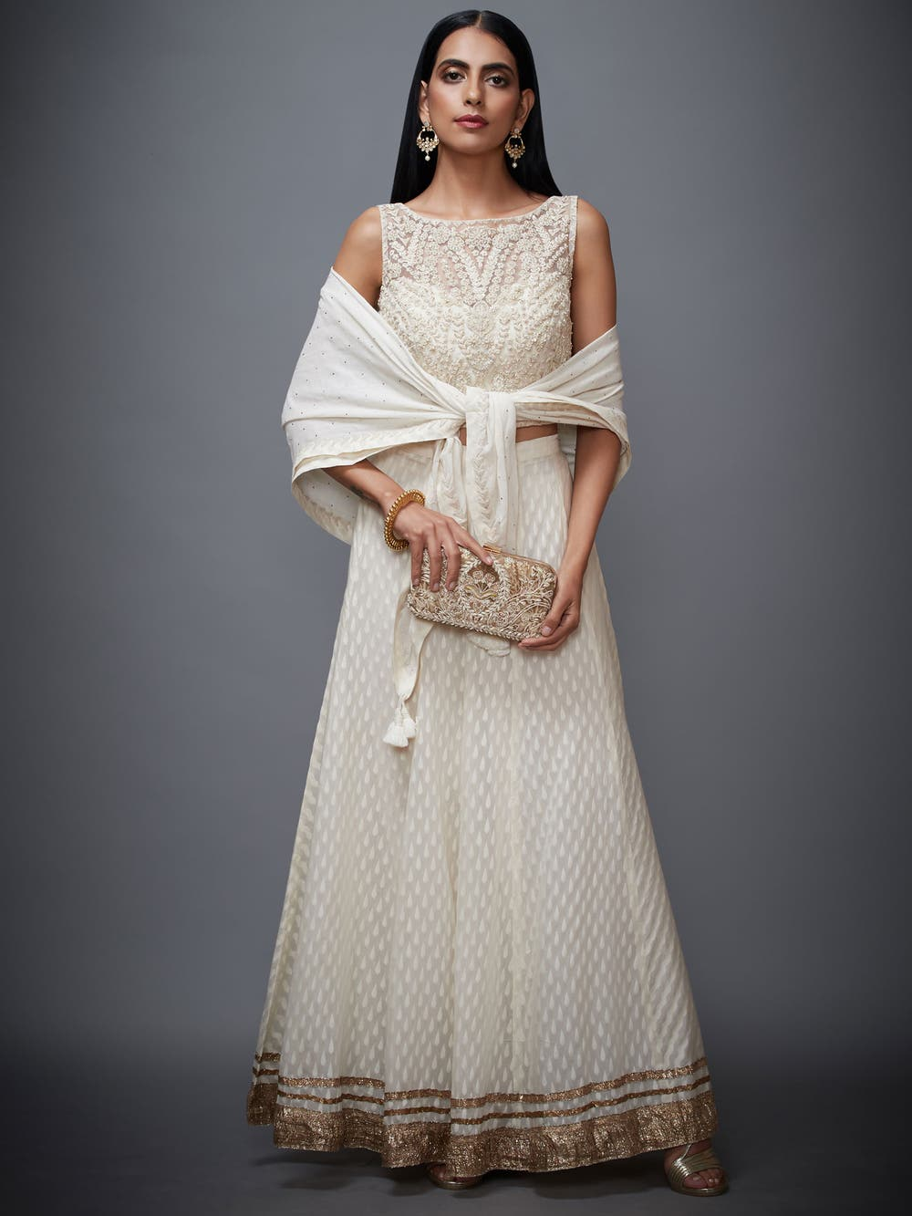 Off White Gold Palace Embroidered Ensemble