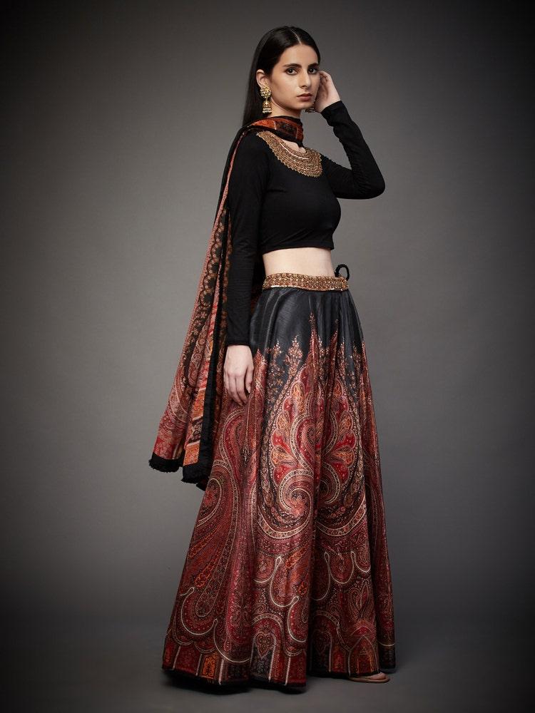 Black & Ruby Red Pankh Jamawar Zardozi Hand Embroidered Suit Set