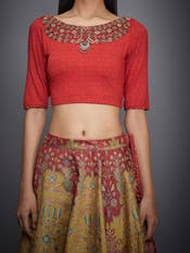 Yellow & Red Embroidered Blouse With Skirt & Sash