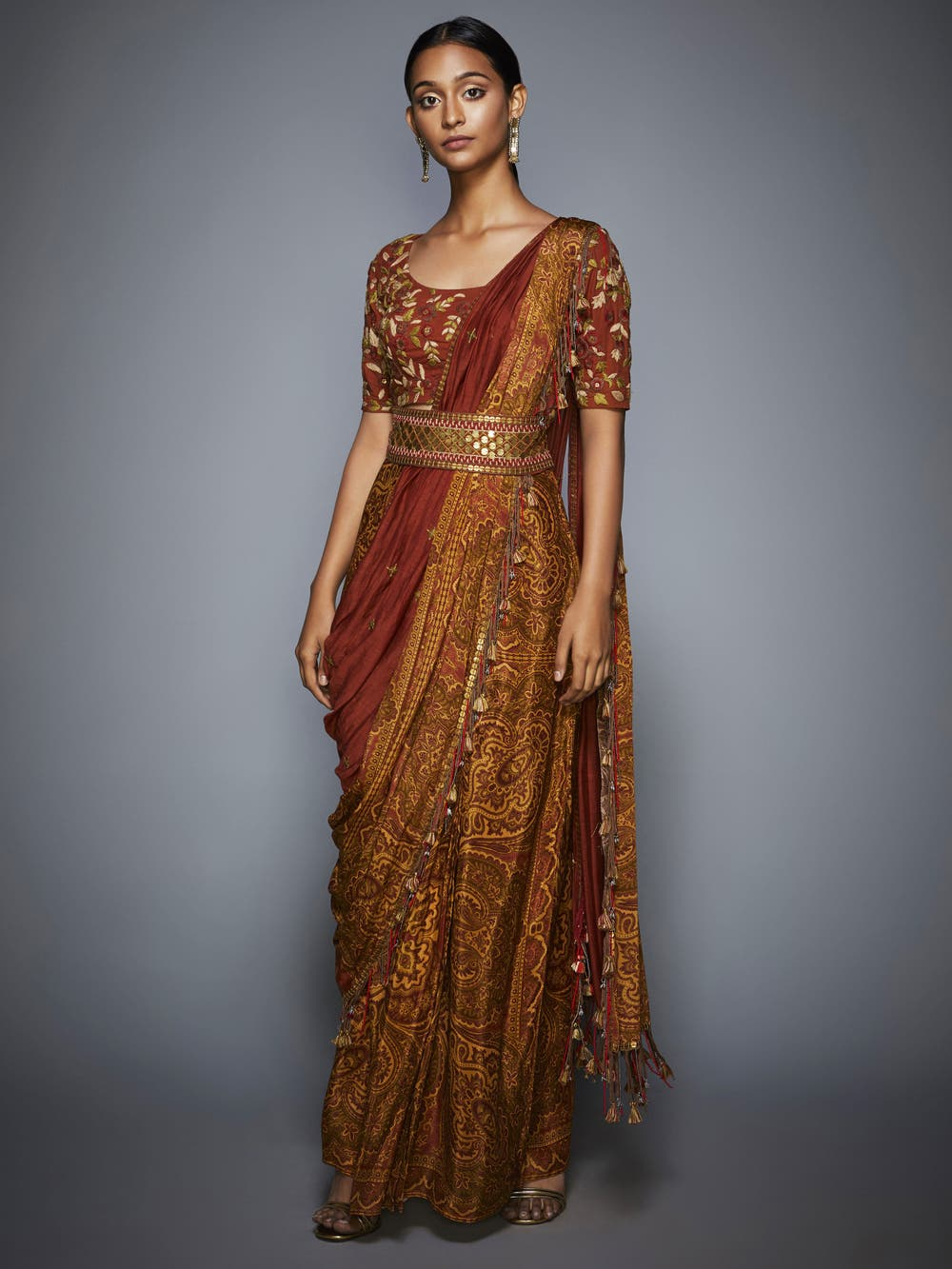 Rust & Olive Floral Embroidered Draped Saree