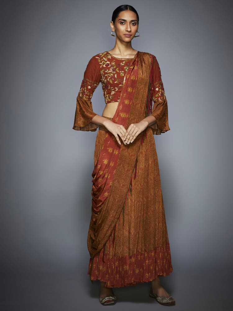 Rust & Olive Embroidered Draped Saree